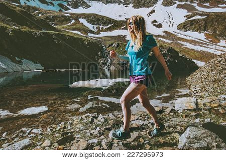 Young Woman Running Training Outdoor In Mountains Travel Healthy Lifestyle Concept Fitness Motivatio