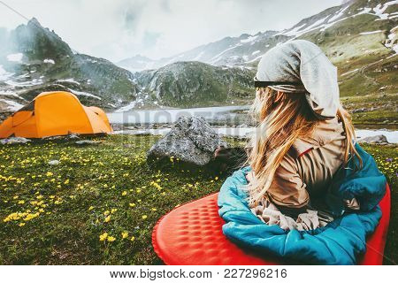 Camping Travel Vacations Woman Relaxing In Sleeping Bag On Mat Enjoying Mountains Landscape Lifestyl