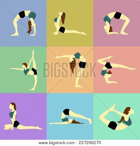 Various Pose Yoga Posture Vector Illustration Graphic Design Set