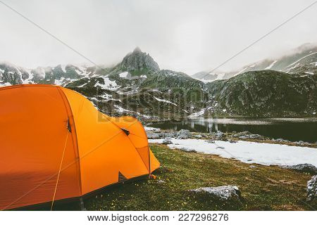 Tent Camping In Mountains Landscape Travel Lifestyle Concept Adventure Summer Vacations Outdoor Hiki