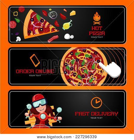 Online Order And Delivery. Italian Pizza Ingredients. Horizontal Vector Banners. Cartoon Style