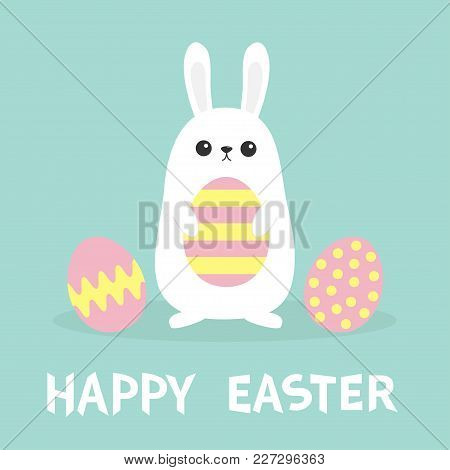 Happy Easter. Three Bunny Rabbit Hanging Upside Down. Picaboo. Painted Pattern Egg Set. Flat Design.