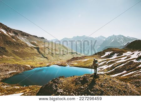 Backpacker Woman Enjoying Lake In Mountains Landscape Travel Healthy Lifestyle Adventure Concept Act