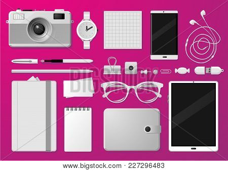 Creative Vector Mock-up With Brand Stationery. Isolated Grayscale Objects. Realistic Style