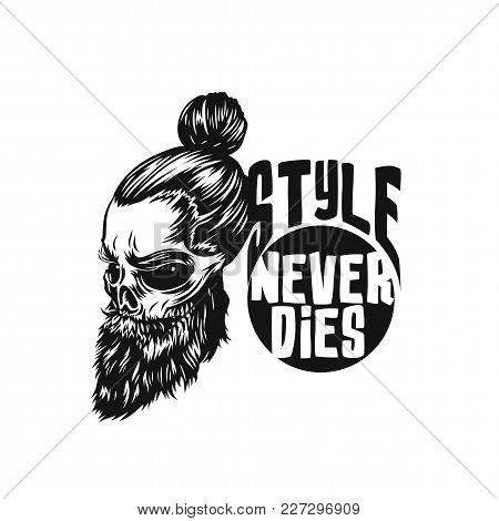 Black Swag Skull On White Background With Typography Vector Illustration Design.