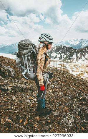 Climber Woman With Backpack On Hike In Mountains Travel Nomad Lifestyle Adventure Concept Active Sum