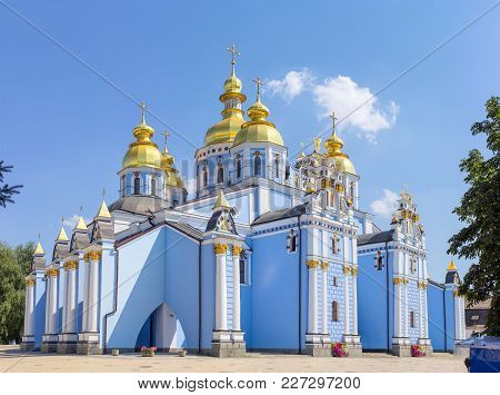 Main Facade Of The Medieval Saint Michael Golden-domed Cathedral Of The Same Name Monastery, Kiev, U