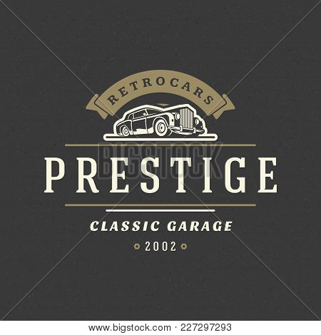 Classic Car Logo Template Vector Design Element Vintage Style For Label Or Badge Retro Illustration.
