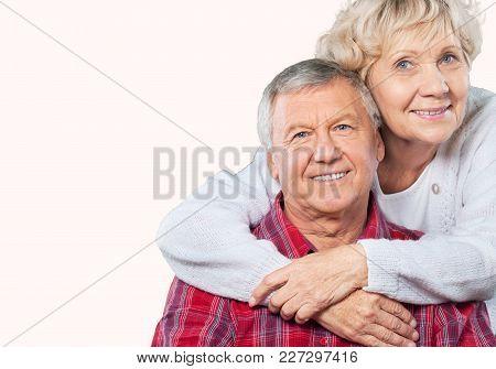 Couple Elderly Hugging Two People Senior Adult Heterosexual Couple Years