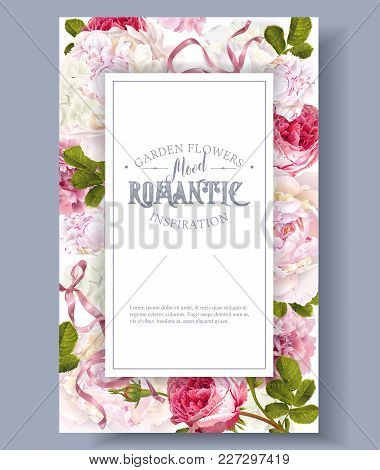 Vector Vintage Floral Frame With Peony, Hydrangea, Rose Flowers And Ribbon. Romantic Design For Natu