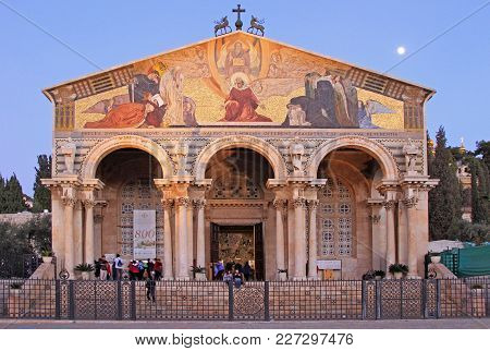 Jerusalem, Israel - December 1, 2017: Church Of All Nations Also Known As The Basilica Of The Agony