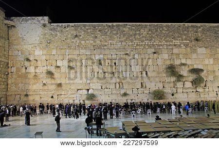 Jerusalem, Israel - December 2, 2017: Men Are Praying At The Wailing Wall In Jerusalem, Israel