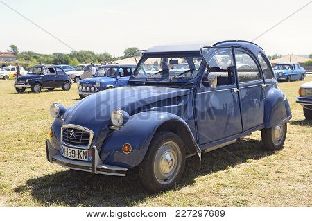 Bagard, France - July 9, 2016: Citroen 2cv Blue Exhibited In A Vintage Car Rally