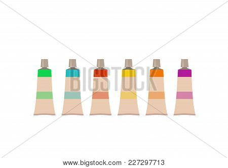 Painting  Tools Elements Cartoon Colorful Vector Set. Art Supplies:  Brushes, Watercolor, Drawing Cr