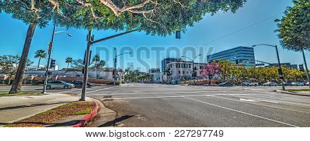 Santa Monica Blvd And Rodeo Drive Crossroad In Beverly Hills. Los Angeles, California