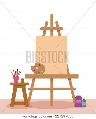 Art Studio Interior Colorful Vector Illustration. Painter Artist Workshop Room With Tools: Canvas, E
