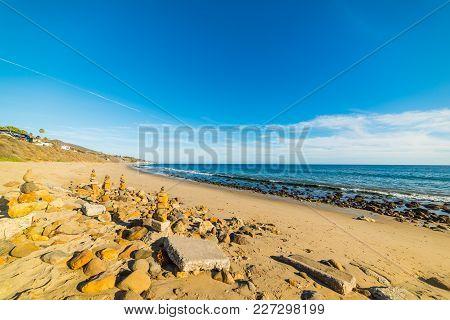 Blue Sky Over Malibu Shoreline. Los Angeles, California