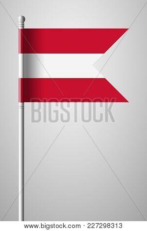 Flag Of Austria. National Flag On Flagpole. Isolated Illustration On Gray