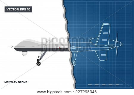 Blueprint Of Military Drone In Outline Style. Side View. Army Aircraft For Intelligence And Attack.