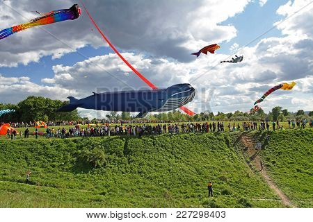 Moscow, Russia - May 27, 2017: Huge Whale Kite At The Kite Festival In The Park Tsaritsyno In Moscow