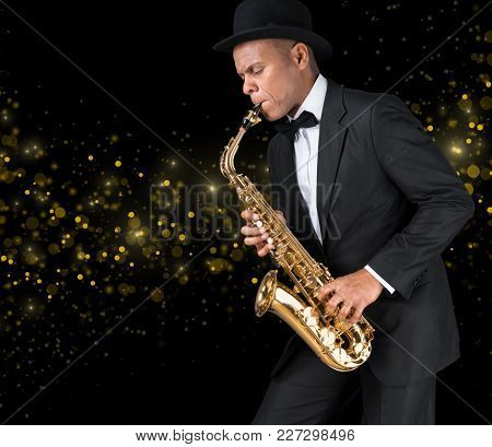 Play Man Playing Sax Saxophone Entertainment Background