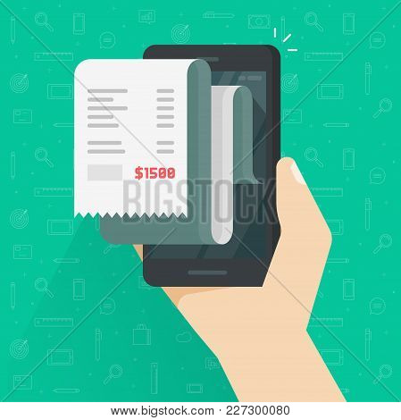 Receipt Bill On Smartphone Vector Illustration Isolated, Flat Cartoon Design Paper Invoice On Mobile