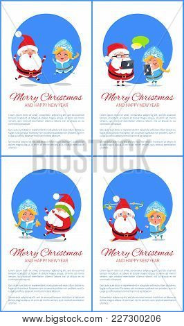 Merry Christmas Happy New Year Posters Santa Snow Maiden Playing Hide-and Seek, Searching Ideas Star