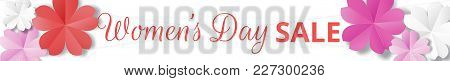 Womens Day Sale Horizontal Web Banner In Origami Style