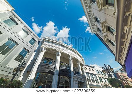 Elegant Buildings In Rodeo Drive, Beverly Hills. Los Angeles, California