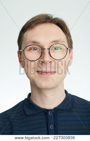 Close Up Portrait Of Smiling Caucasian Man Isolated On White Background