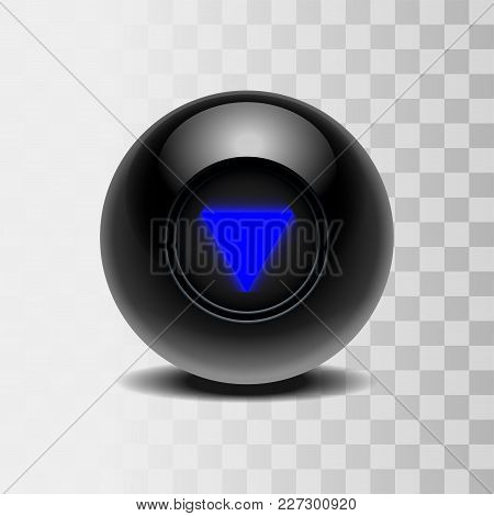 The Magic Ball Of Predictions For Decision-making. Realistic Black Ball Isolated On A Transparent Ba