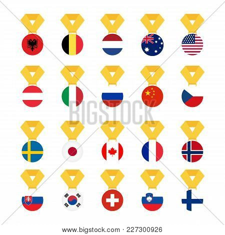 Set National Flags Of The World Isolated On White Background. Medal With The Flag - Vector Illustrat