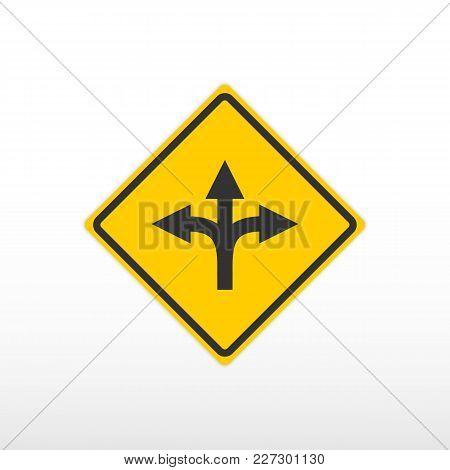 Three Way Fork Road Sign. Vector Icon.