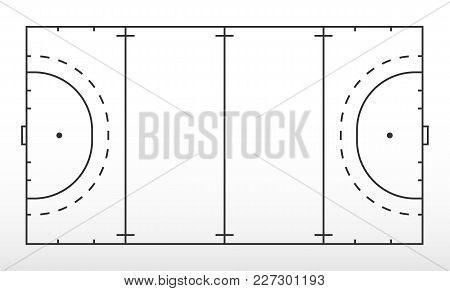 Field Hockey Markup. Outline Of Lines On Field Hockey. Vector Illustration.