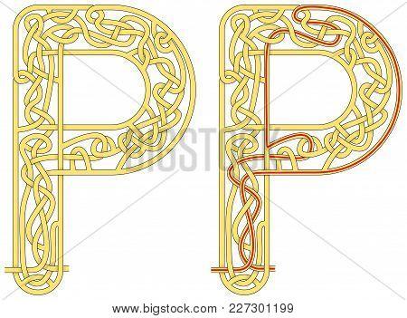 Maze In The Shape Of Capital Letter P - Worksheet For Learning Alphabet