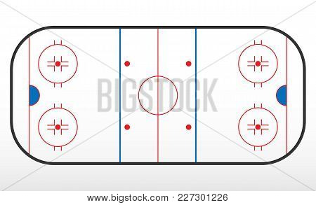 Hockey Rink Markup. Outline Of Lines On An Ice Hockey Rink. Vector Illustration.