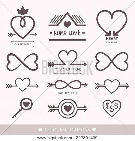 Decorative Icon For Valentine's Day. Graphic Romantic Element Heart And Arrow. Logo Love Vector Illu