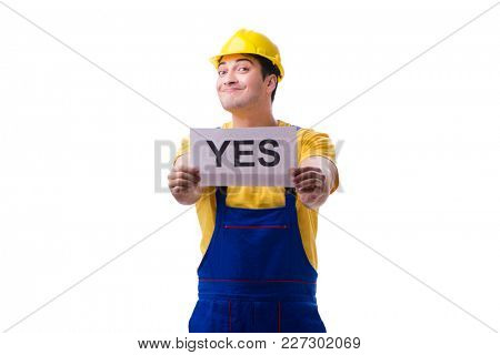 Worker responding positively yes isolated on white