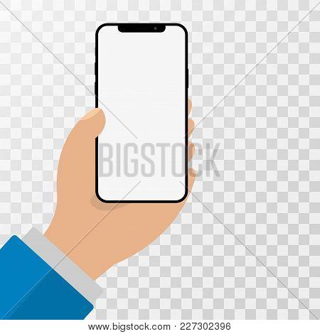 Human Hand Holding Smartphone. Mobile Cellular Phone Flat Vector Illustration.