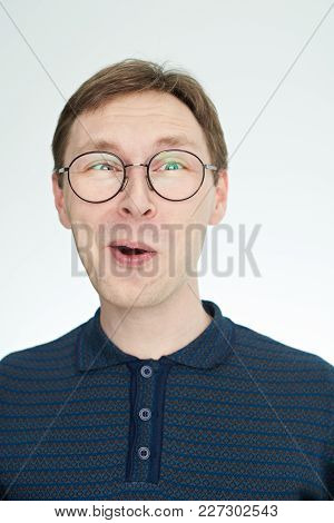 Funny Young Man In Glasses Portrait Isolated On White Background