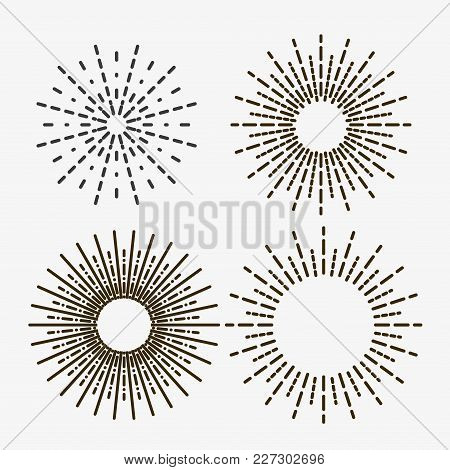 Set Of Light Rays, Sunburst And Rays Of Sun. Design Elements, Linear Drawing, Vintage Hipster Style.