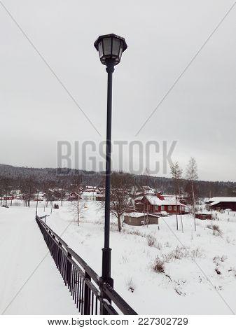 A Streetlight In The Winter In Dalarna