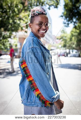 Johannesburg, Gauteng, South Africa, 20018/01/10. A African Women Smiling And Looking Happy On Stree