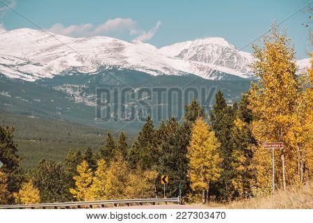 Season changing from autumn to winter. Rocky Mountains, Colorado, USA.