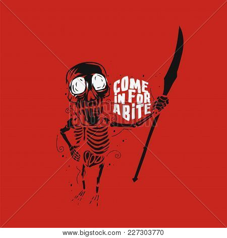 Halloween Skeleton On Red Background With Typography Vector Illustration Design.