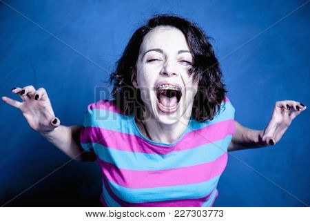 Help Me! Frustrated Woman In Stress Asking For Help (body Language, Gestures, Psychology Concept)