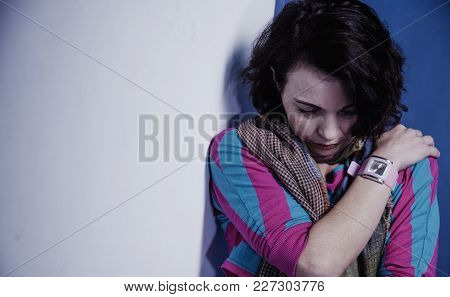 Body Language Of The Woman As A Symbol Of Loneliness And Depression. (negative Emotion, Gestures, Ps