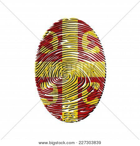 Illustration Of A Fingerprint As The Coat Of Arms Of Serbia On A White Background.
