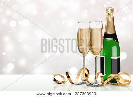 Bottle Champagne Glasses Champagne Flute Alcoholic Drink Background Nobody