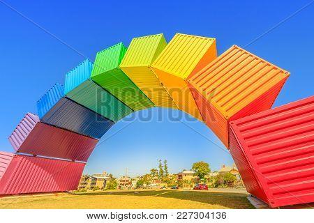 Fremantle, Australia - Jan 7, 2018: Fremantle Travel Welcome. Rainbow Sea Container In Fremantle Por